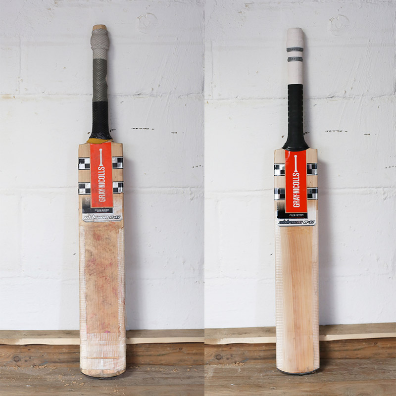 Cricket Bat Before And After Refurbishment
